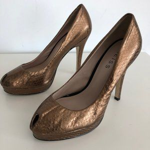 Reiss Metallic peep toe platform high heels EU38